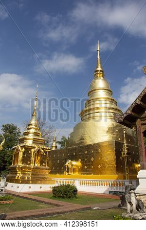 Buddha Relics In Golden Chedi Stupa Phra Singh For Thai People And Foreign Traveler Travel Visit Res