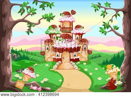 A Candy Land With A Sweet Castle Decorated With Cream And Chocolate Stands In A Fairytale Forest. Fa