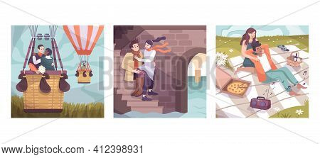 Three Squares Romantic Couple Flat Icon Set With Balloon Flight Date On The Stairs And Romantic Picn