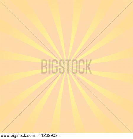 Sun Rays Background. Orange Yellow Radiate Sun Beam Burst Effect. Sunbeam Light Flash Boom. Starburs