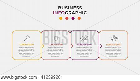 Minimal Thin Line Arrow Business Infographics Template. Timeline With 4 Steps, Options And Marketing