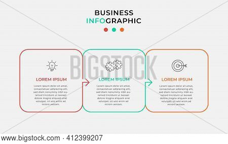 Minimal Thin Line Arrow Business Infographics Template. Timeline With 3 Steps, Options And Marketing