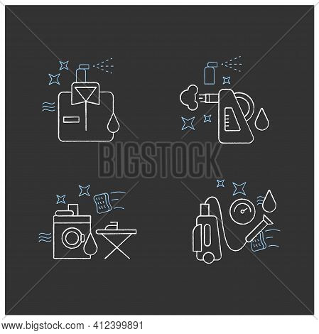 Cleaning Services Chalk Icons Set.consists Of Dry Cleaning, Laundry, Steaming, Pressure Washing. Cle