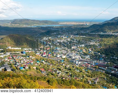 View Of The City Of Petropavlovsk-kamchatsky And The Sea Bay From Mishennaya Sopka. Magnificent Aeri