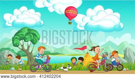 Colorful Vector Illustration. Summer Children's Rest. Happy Children Are Resting On A Picturesque Me