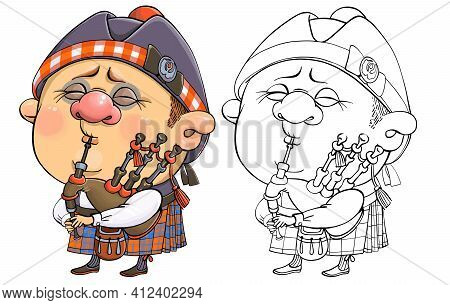Vector Cartoon For Coloring. A Funny Illustration Of A Cute British Piper In National Costume With A