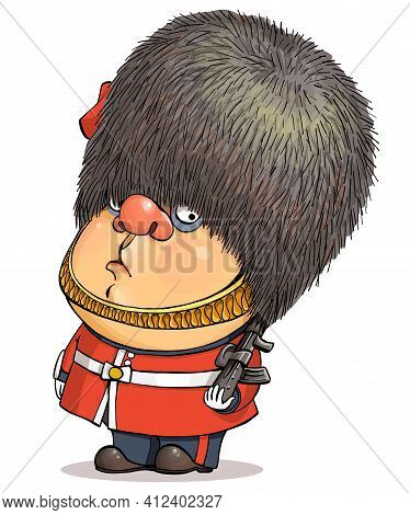 Funny Cartoon Vector. Illustration Of A Cute British Guardsman Wearing A Buckingham Palace Bear Hat.