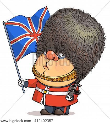Funny Cartoon Vector. Illustration Of A Cute British Guardsman Wearing A Buckingham Palace Bear Hat