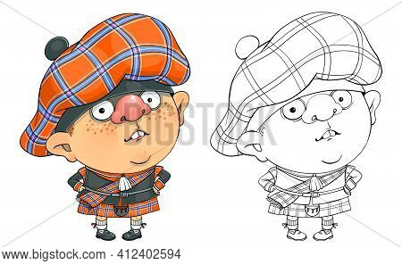 Vector Cartoon For Coloring. A Funny Illustration Of A Cute Scottish Guy In A National Costume.