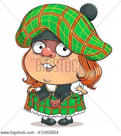 Funny Cartoon Vector. Illustration Of A Lovely British Girl In Scottish National Dress.