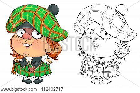 Vector Cartoon For Coloring. Funny Illustration Of A Pretty Scottish Woman In National Costume.