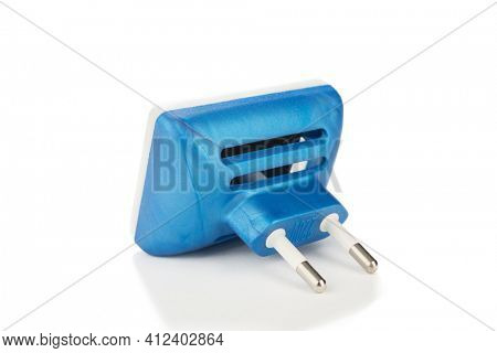 Blue electric fumigator or mosquito repellent isolated on white background