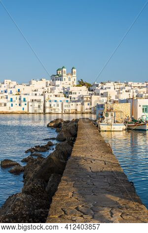 Naoussa Harbor With Traditional Greek Houses In The Cycladic Style, Paros Island, Greece. Cyclades.