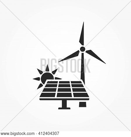 Alternative Energy Icon. Solar And Wind Power Symbol. Eco Friendly, Environment, Sustainable And Ren