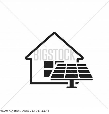 House Solar Panel Icon. Electricity Home Solution. Sustainable, Renewable And Alternative Energy Sym