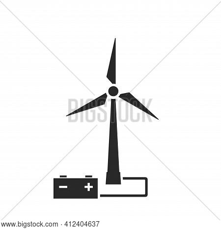 Accumulation Wind Energy Icon. Wind Turbine And Accumulator. Eco Friendly, Renewable And Alternative