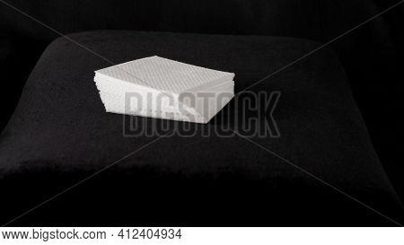 Napkins On A Black Background, A Stack Of Napkins, Lint-free Napkins, Manicure Napkins