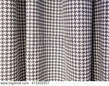 Houndstooth Check Pattern Fabric. Suit Polyviscose Fabric. Black And White Blackout Curtains. Close-