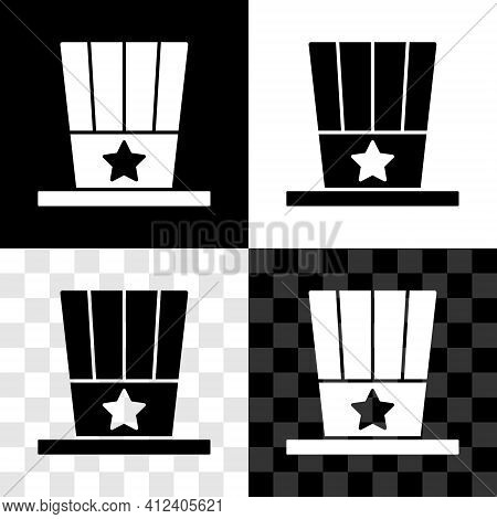 Set Patriotic American Top Hat Icon Isolated On Black And White, Transparent Background. Uncle Sam H