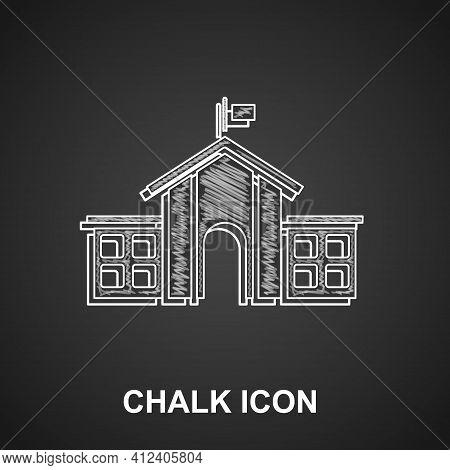 Chalk United States Capitol Congress Icon Isolated On Black Background. Washington Dc, Usa. Vector