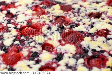 Full Frame Background Of Freshly Baked Cake With Berries And Strawberries Fruit.