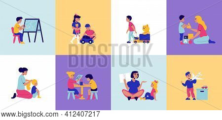 Kindergarten Design Concept With Set Of Square Compositions With Kids Characters Playing With Toys A