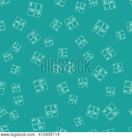 Green Shelf With Books Icon Isolated Seamless Pattern On Green Background. Shelves Sign. Vector