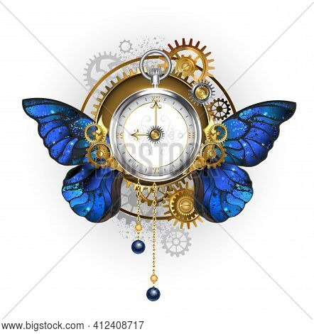 Antique, Silver Steampunk Watch With Blue, Realistic Morpho Butterfly Wings, With Dial With Gold Rom