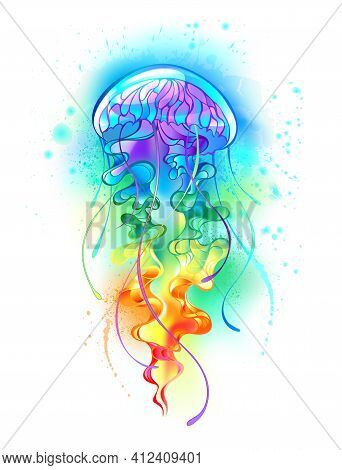 Large, Iridescent, Artistically Drawn, Bright Jellyfish, With Long Tentacles On White, Painted Over