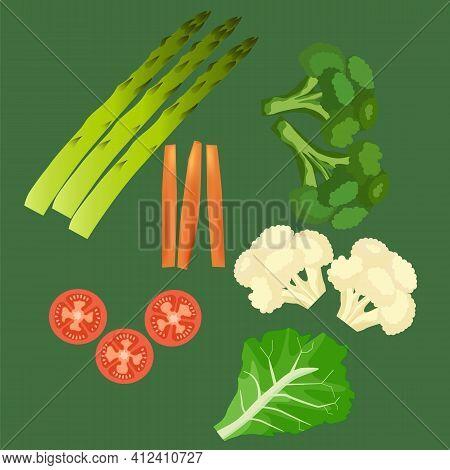 Set Of Vegetables Isolated. Healthy Food. Tomato, Asparagus, Carrot, Cauliflower, Broccoli, Iceberg