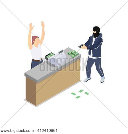 Gang Crime Robbery Stealing Isometric Composition With Robber Pointing Gun To Cashier With Money Vec
