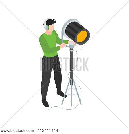 Isometric Cinematography Composition With Isolated Character Of Lighting Engineer With Spot Light Ve