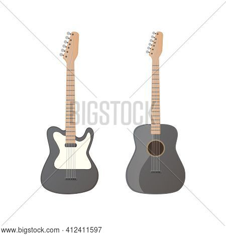 Electric And Acoustic Guitar Set. Vector Flat Illustration. Isolated On White Background.