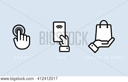 Select, Pay And Collect In Store Icon Set. Cashless Payment. Vector Eps 10. Isolated On Background.