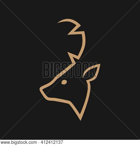 Abstract Deer Head Outline Silhouette In Profile Portrait Symbol On Gray Backdrop. Design Element