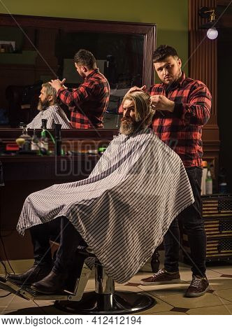Cut Hair. Barber Hairstyle Barbershop. Professional Cosmetics. Hipster Getting Haircut. Healthy Hair