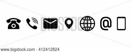 Contact Us Icon Set. Communication Symbol For Your Web Site Design, Logo, App, Ui. Contact Button. M