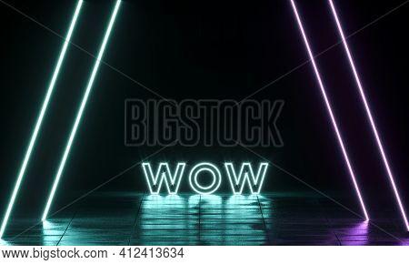 Neon Shine Electricity Fluorescent Sign Wow Concept Illuminated Vintage Retro Club Glow Icon Logo Te