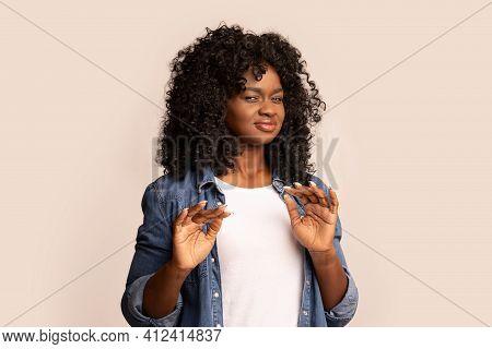 Black Woman Feeling Unpleasant Scent Or Showing Disregard