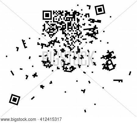 Vector Broken Qr Code, Qr Code Containing Important Information On Black Background