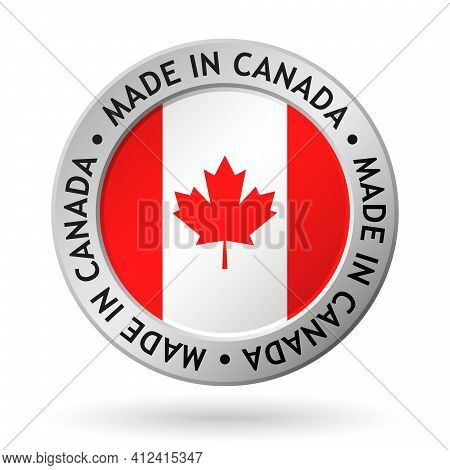 Vector Silver Sign With Flag Of The Canada And Sign Made In Canada