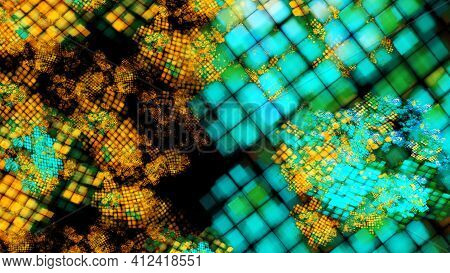 Abstract Fractal Art Background In Illustration Space Geometry.