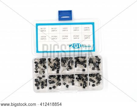 Box With Transistors On A White Background Close Up