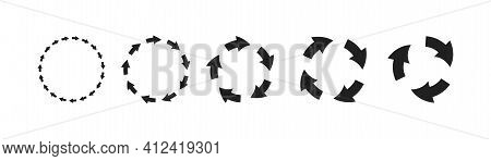 Vector Set Of Circle Arrows Icons. Recycle Sign. Refresh Symbol. Reuse Mark.