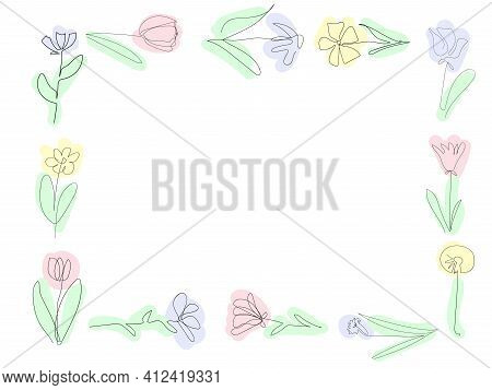 Frame Beautiful Flowers On The White Background, One Continuous Line, Black Outline Art, Floral Vect