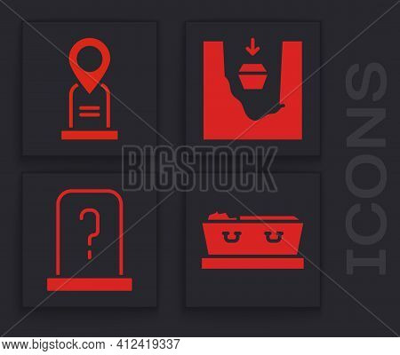 Set Coffin With Dead, Location Grave, Coffin In Grave And Grave With Tombstone Icon. Vector