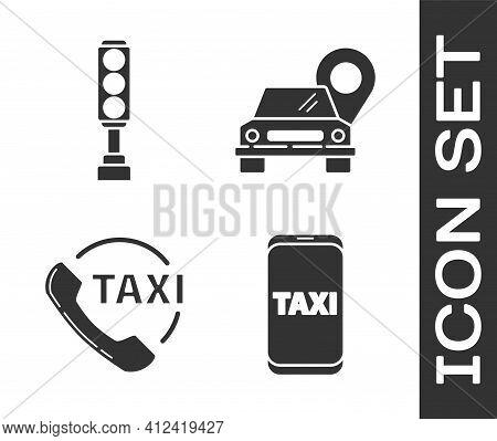 Set Taxi Call Telephone Service, Traffic Light, Taxi Call Telephone Service And Map Pointer With Tax