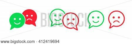 Bad And Good Feedback Vector Icons Collection. Positive And Negotive Emoticon Signs.