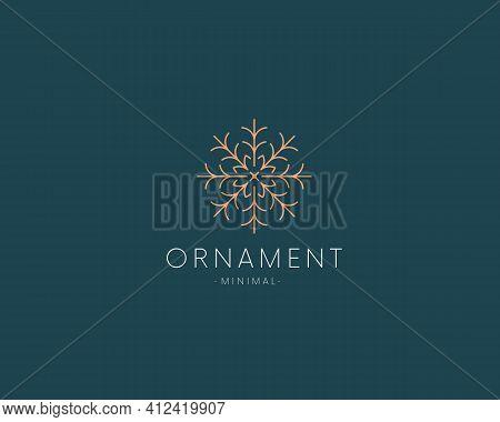 Elegant Linear Ornament Logo Icon Sign. Snowflake Logotype.