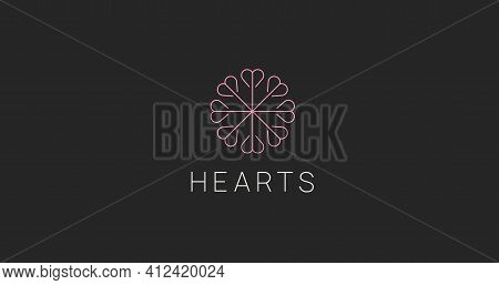 Abstract Hearts Ornament Logo Sign. Circle Hearths Icon. Love Logotype Vector Design. Charity Symbol